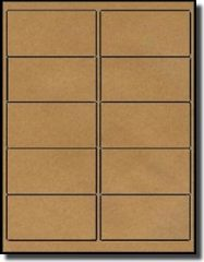 200 Labels Outfitters® 4 x 2 inches, Brown Kraft Self Adhesive Labels, 20 Sheets with 10 Labels per Sheet