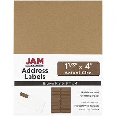 JAM Paper® Address Labels – 1 1/3 x 4 in – Brown Kraft – 14 Labels per Sheet, 126 Per Pack