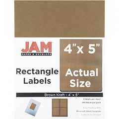 JAM Paper® Large Address Labels – Quarter Sheet (4 x 5) – Brown Kraft – 4 Labels per Sheet, 120 Per Pack