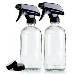 Chefland (2 Pack) 16 Oz. Glass Spray Bottles for Multi-purpose Use Such As Kitchen, Bath, Beauty, and Gardening, w/Durable Black Sprayer and Caps – Best Design for Cleaning and Liquid Storage – Clear