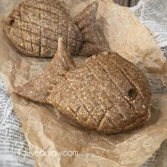 close up raw vegan gluten-free Taiyaki Japanese Fish-Shaped Cakes