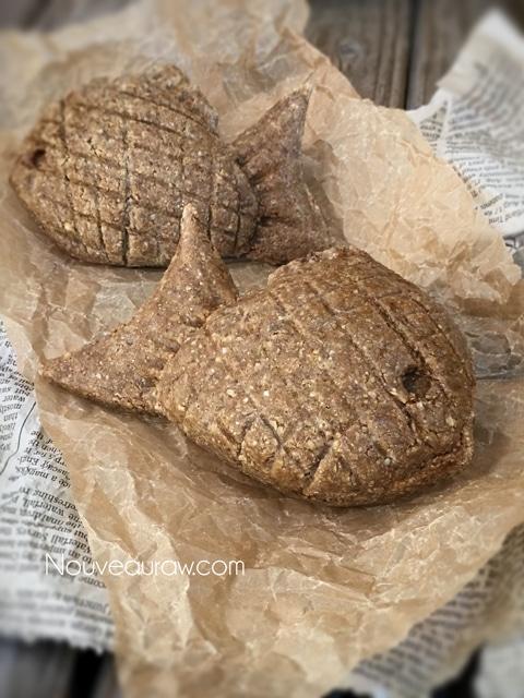close up raw vegan gluten-free Taiyaki Japanese Fish-Shaped Cakes