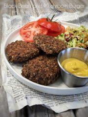 Black Bean and Mushroom Burger (vegan, gluten-free, nut-free)