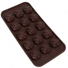Home-X Rose Shaped Silicone Mold for Chocolate, Jelly and Candy – 15-piece Per Mold – Rose