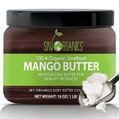 Best Raw Mango Butter by Sky Organics 16oz- 100% Pure, Unrefined, Organic Mango Butter-Skin Nourishing, Moisturizing & Healing, for Dry Skin, Hair Shine – For Skin Care, Hair Care & DIY- Made in USA
