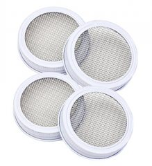 HomeSpec Canning Jar Strainer Sprouting Lid Set For Sprouts, Sifting, and Straining – Regular Mouth – Set of 4