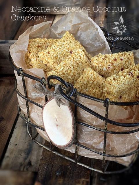 raw vegan gluten free crackers at Nouveau Raw. Nectarine and orange coconut crackers