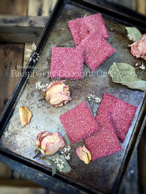 Vegan Gluten Free Raspberry Coconut Crackers