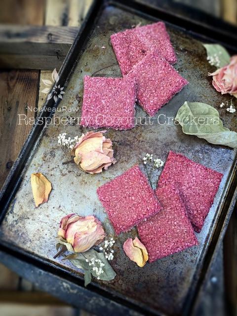 Vegan Gluten Free Raspberry Coconut Crackers