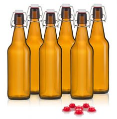 Grolsh Swing Top Bottles / Flip Cap Bottles – Box of 6 – Large 16oz – Amber Color – Bonus Replacement Gaskets