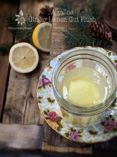 raw vegan Alkaline Ginger Lemon Gut Flush for digestion