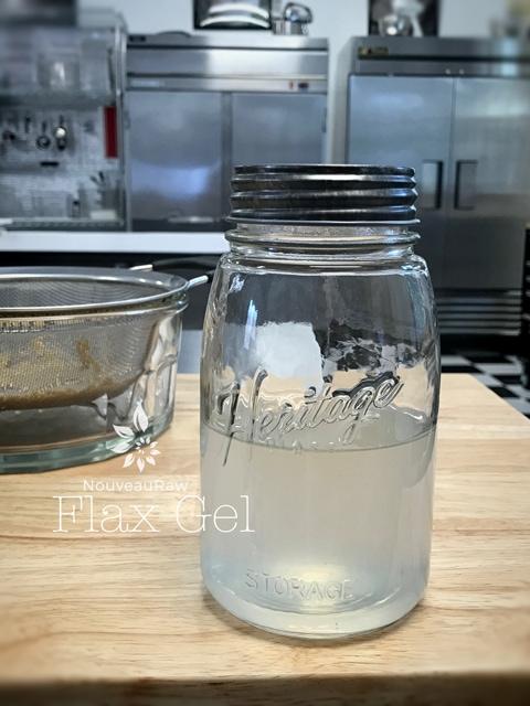 a jar of flax seed gel