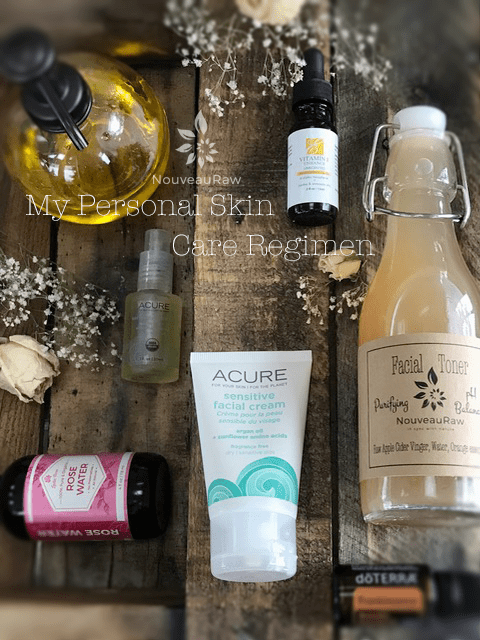 a display of My Personal Skin Care Regimen on barn wood
