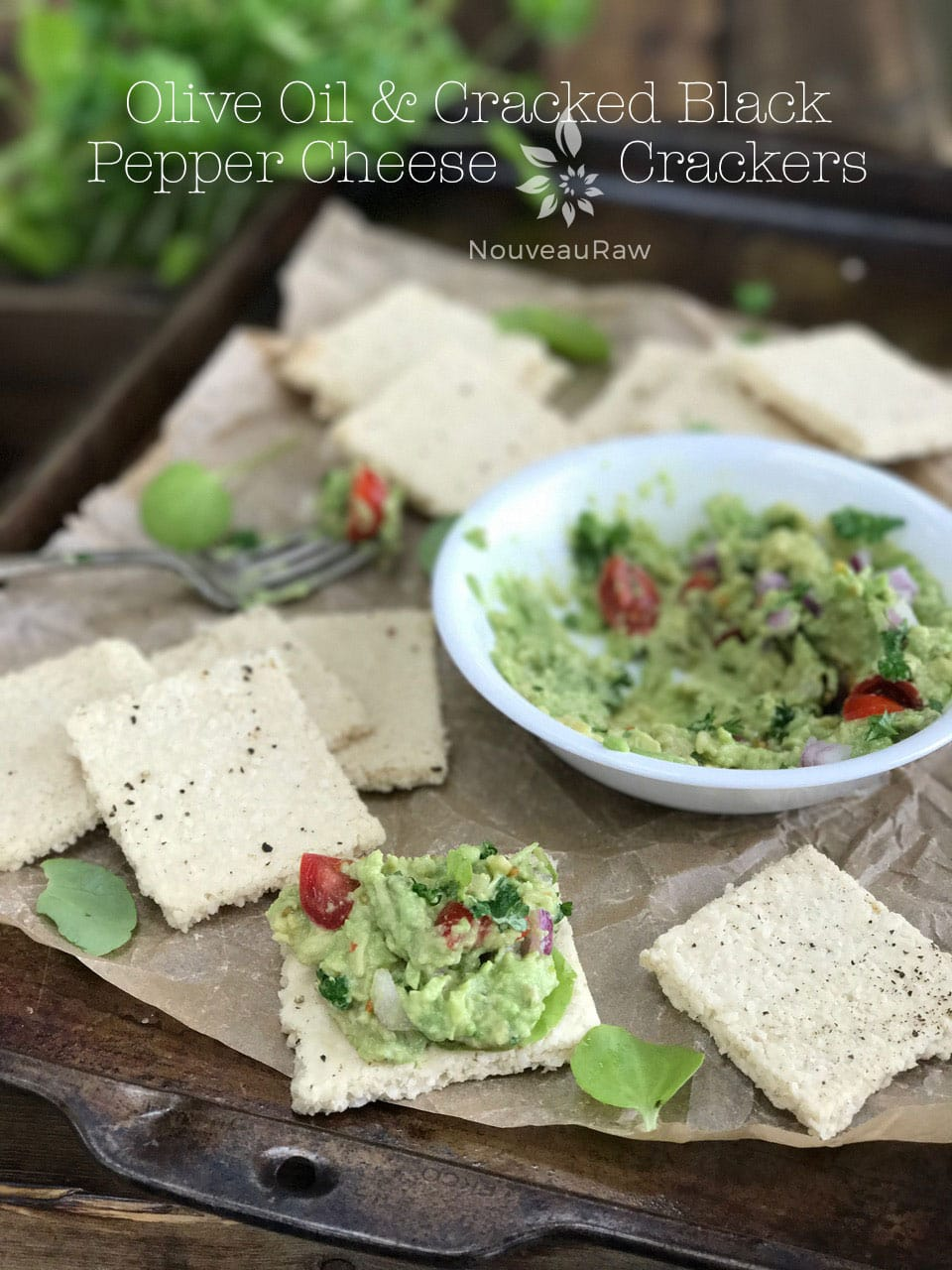 Raw, Gluten Free Vegan Olive Oil and Cracked Black Pepper Cheese Crackers