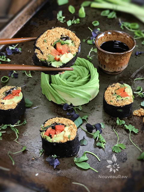 Vegan Recipes. Raw, gluten-free, grain-free, nut-free, Vegan Sushi Rolls at Nouveau Raw