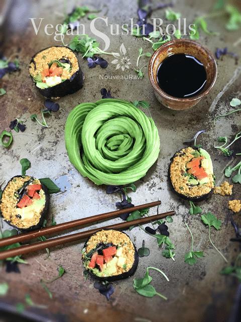 raw, gluten-free, grain-free, nut-free, Vegan Sushi Rolls at Nouveau Raw