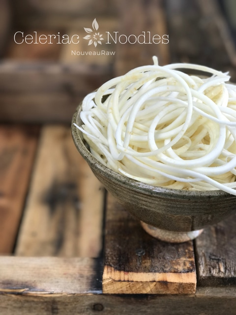 Raw, vegan, gluten-free, nut-free, alkaline Celeriac Noodles