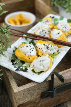 making vegan raw Coconut Jicama Rice stuffed Jackfruit