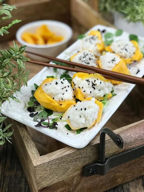Coconut-Jicama-Rice-stuffed-Jackfruit-Pods ona white plate