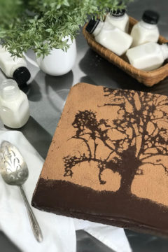 Cracked-Black-Pepper-and-Cayenne-Brownies with a tree stencil