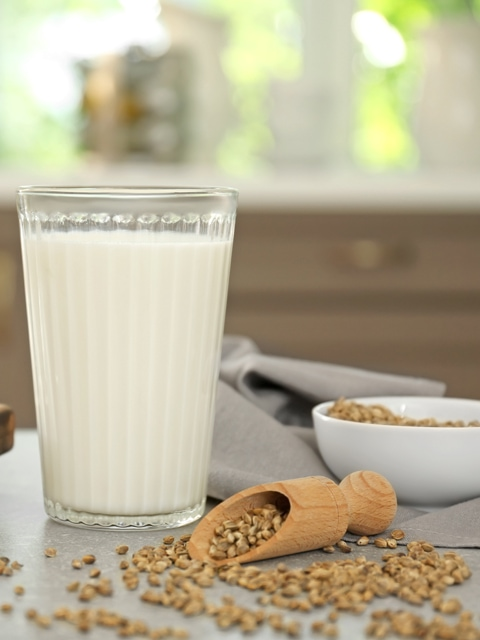 hemp seed milk in tall glass