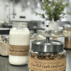 raw Cinn-Full-Granola served with fresh almond milk