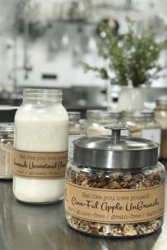 raw Cinn-Full-Granola served with fresh almond milk