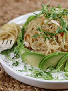 raw and gluten-free kelp noodles with almond butter miso sauce from Nouveau Raw