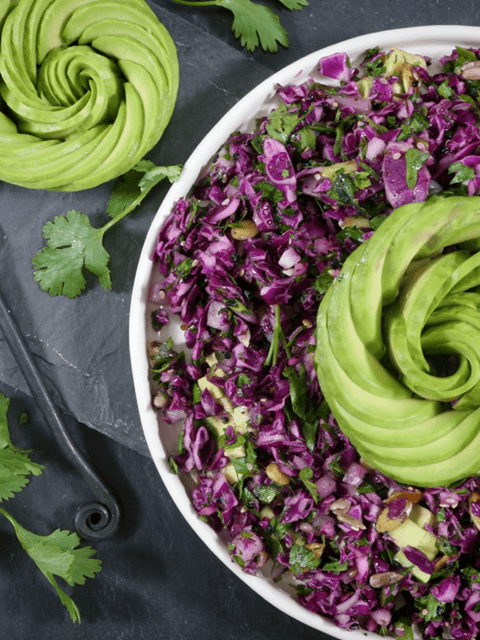 raw and vegan recipe for Red Cabbage and Parsley Salad