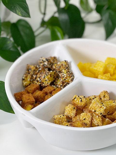 vegan oil-free polenta croutons