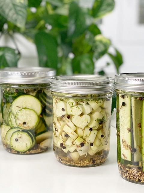 vegan savory zucchini pickles