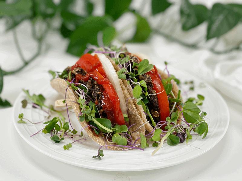 vegan gluten-free oil-free mushroom burger wrap