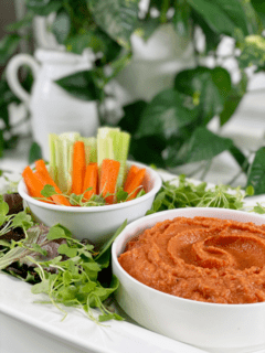 oil-free tahini-free red bell pepper hummus