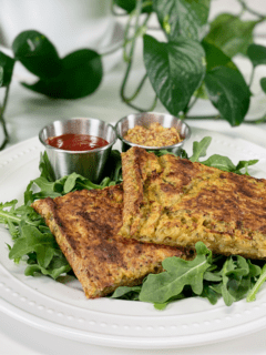 vegan gluten-free, oil-free Crispy Potato and Broccoli Hash Brown Bake