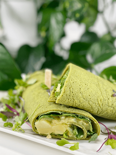 vegan gluten-free oil-free spinach buckwheat wraps