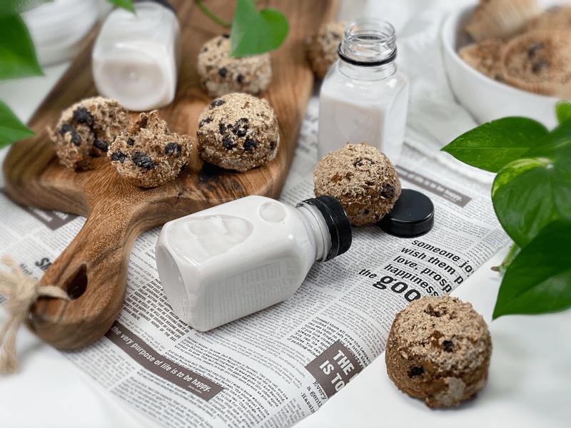 vegan gluten-free oil-free flour-free Blueberry Ginger Muffins