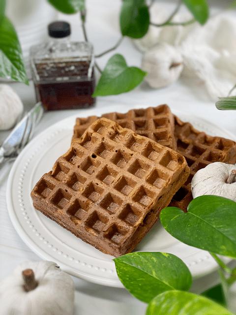 vegan gluten-free nut-free oil free pumpkin ginger waffles