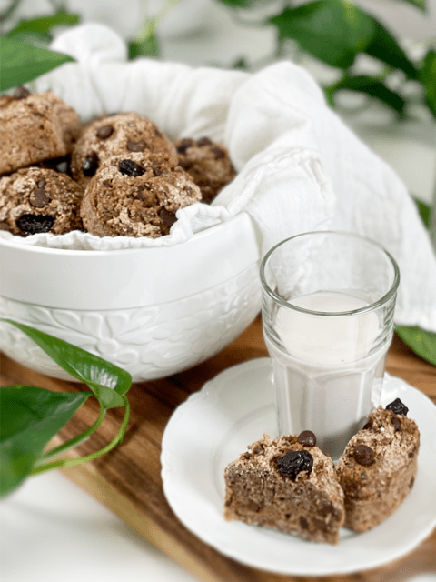 vegan gluten-free nut-free flour-free oil-free Chocolate Chip Cranberry Muffins