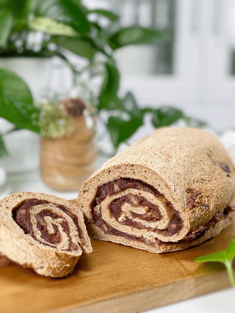 gluten free vegan yeast free oil free pecan date swirl bread
