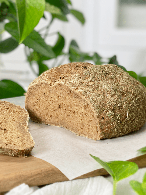 gluten-free vegan yeast-free rustic garlic herb teff bread