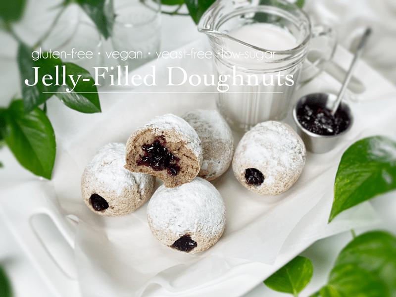 gluten-free vegan yeast-free low-sugar jelly filled doughnuts