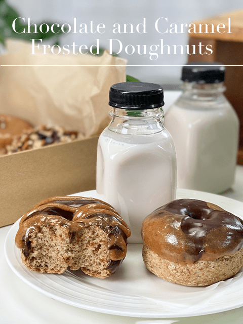 raw and baked vegan gluten-free oil-free yeast-free chocolate and caramel doughnuts